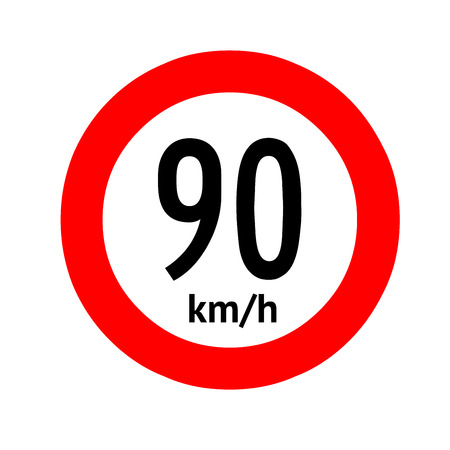 Speed limit traffic sign 90 Banque d'images - 101255980