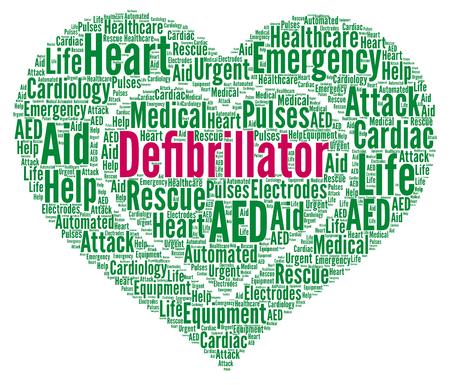 Defibrillator word cloud illustration