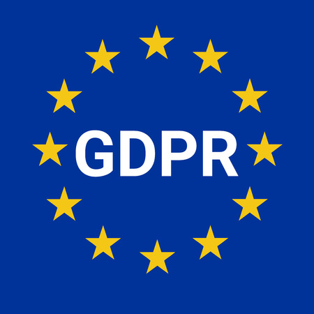GDPR sign illustration with the European flag