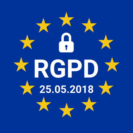 GDPR sign illustration called RGPD in French language Stock Photo