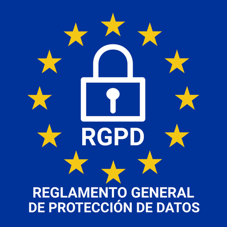 GDPR sign illustration called RGPD in Spanish language