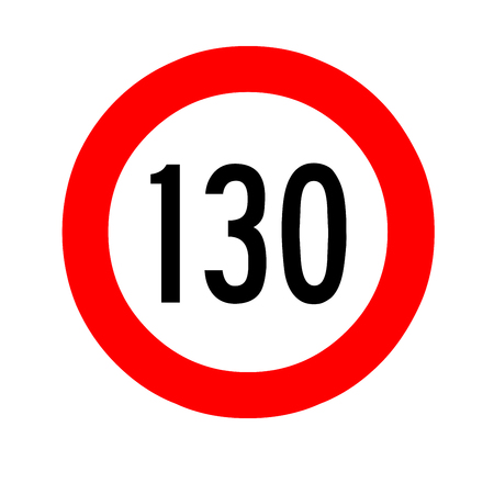 Speed limit traffic sign 130 Stock Photo