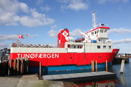 Hou, Denmark - February 26, 2016: The ferry sailing between the harbor of Hou and the car-free island of Tuno in Denmark
