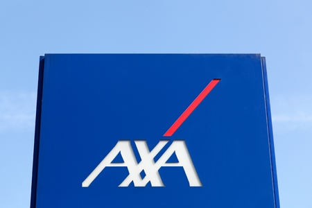 Macon, France - March 22, 2016: AXA insurance on a panel. AXA is a French multinational insurance firm that engages in global insurance, investment management and financial services Redakční