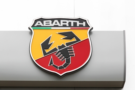 Macon, France - May 27, 2018: Abarth on a wall. Abarth is an Italian racing car and road car maker founded by Italo-Austrian Carlo Abarth in 1949