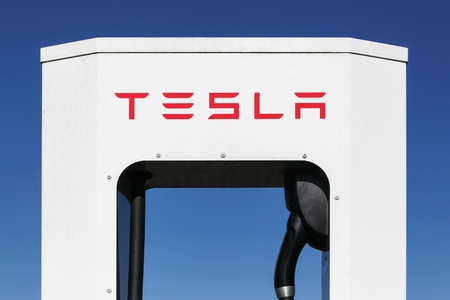 Hedensted, Denmark - May 5, 2018: Tesla supercharger station. Tesla is an American automotive and energy storage company that designs, manufactures, and sells luxury electric cars Editorial