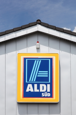 Blankenheim, Germany - July 22, 2017: Aldi Sud on a wall. Aldi is a leading global discount supermarket chain with over 10 000 stores in 18 countries Editorial