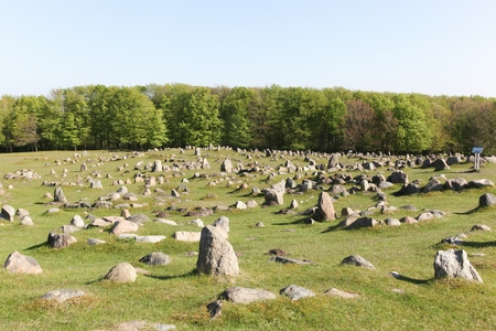 Lindholm Hills called Lindholm Hoje in Danish is a major viking burial site in Denmark Stock Photo