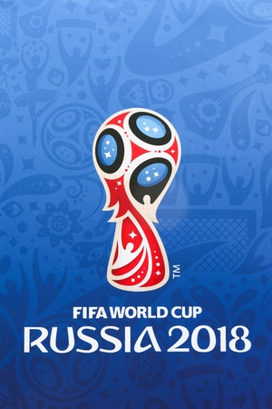 Aarhus, Denmark - June 22, 2018: Russia World Cup 2018 on a wall Editorial