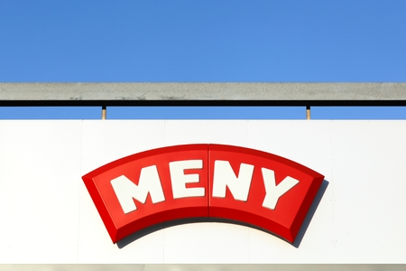 Herning, Denmark - May 15, 2018: Meny on a wall. Meny is a Norwegian and Danish supermarket chain owned by NorgesGruppen and Dagrofa Editorial
