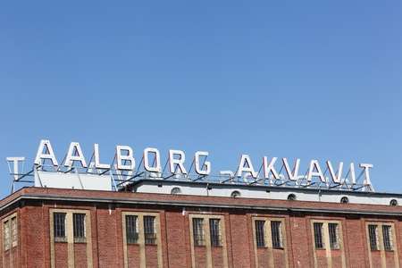 Aalborg, Denmark - May 8, 2016: Aalborg akvavit factory in Denmark. Since 1881, akvavit and schnapps has been produced in the city of Aalborg. The production moved from Aalborg to Norway in 2015 Editorial