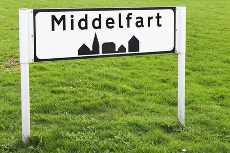 Middelfart city road sign in Denmark