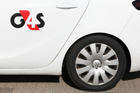 Holme, Denmark - June 23, 2018: G4S logo on a car. G4S is a British multinational security services company headquartered in central London and It is the worlds largest security company Editorial