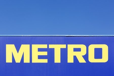 Dardilly, France - July 19, 2018: Metro logo on a panel. Metro cash and carry is a leading international player in self service wholesale trade
