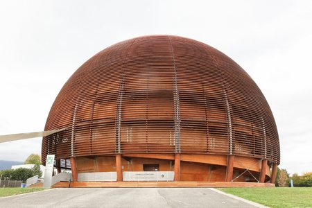 Meyrin,Switzerland - October 1, 2017: The globe of science and innovation in Meyrin at CERN research center, Switzerland