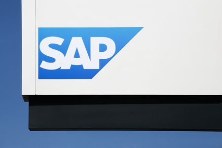 Aarhus, Denmark - August 7, 2018: SAP logo on a wall. SAP is a European multinational software corporation that makes enterprise software to manage business operations and customer relations Editorial