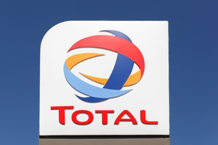 Marguerittes, France - July 1, 2018: Total logo on a pole. Total is a french multinational integrated oil and gas company and one of the six supermajor oil companies in the world Editorial