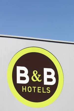 Nimes, France - July 1, 2018: B&B Hotels logo. B&B Hotels is a hotel chain started in Brittany, France in 1990.  It has since opened hotels in Germany, Italy, Morocco, Poland and Portugal