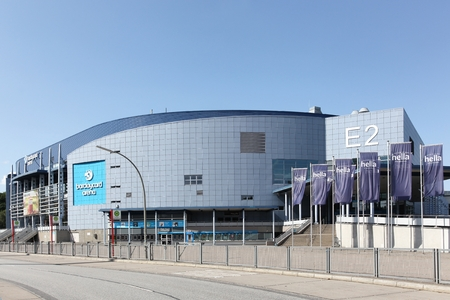 Hamburg, Germany - September 1, 2018: The Barclaycard Arena is a multipurpose arena in Hamburg, Germany. It opened in 2002 and can hold up to 16,000 people Stockfoto - 114643953