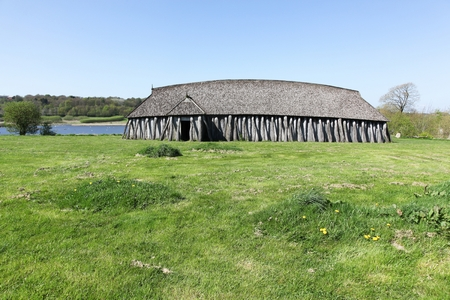 Hobro, Denmark - May 5, 2018: Viking house in Hobro, Denmark Éditoriale
