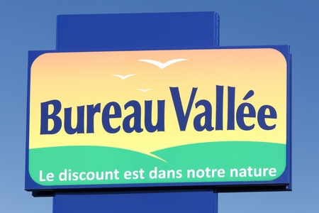 Arles, France - July 4, 2018: Bureau Vallee logo on a panel. Bureau Vallee is a retail chain in France specializing in stationery, office supplies, office equipment and computer consumables