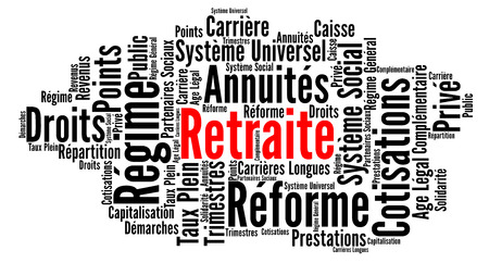 Pension reform in France word cloud in French Stockfoto