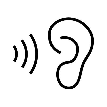 Ear listen icon on white background Reklamní fotografie