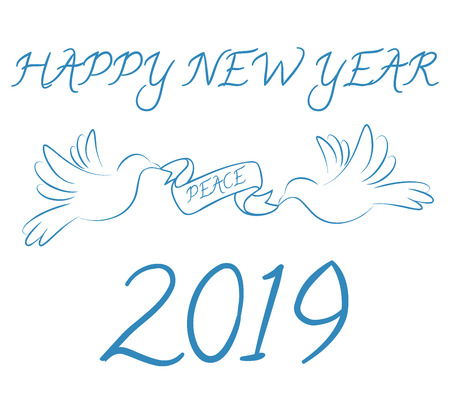 Happy New Year 2019 with peace symbol