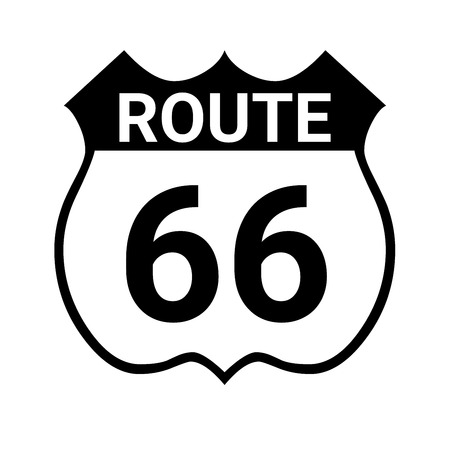 Route 66 sign with a white background