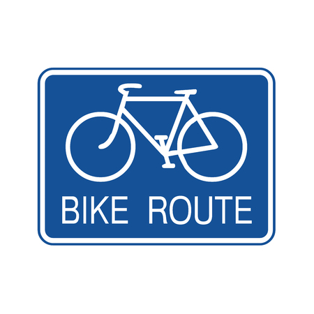 Bike route sign illustration Фото со стока