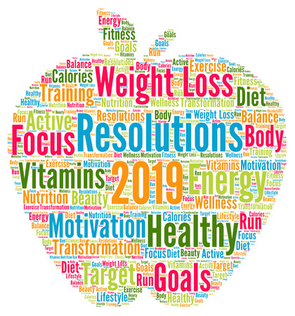 Resolutions 2019 health word cloud Banco de Imagens