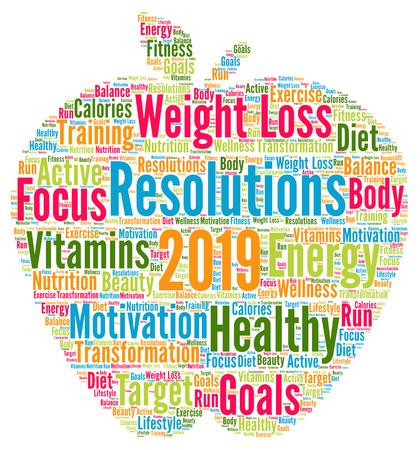 Risoluzioni 2019 nuvola parola salute