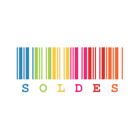 French sale sign with colorful barcode