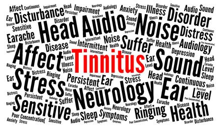 Tinnitus word cloud illustration Stock Photo