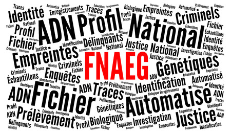Automated national file of genetic prints in France called FNAEG in French word cloud