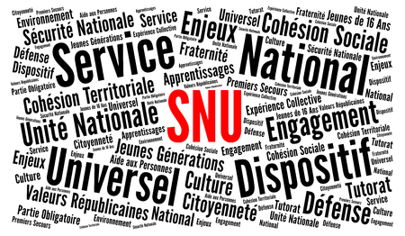 SNU, universal national service in France word cloud Stock fotó