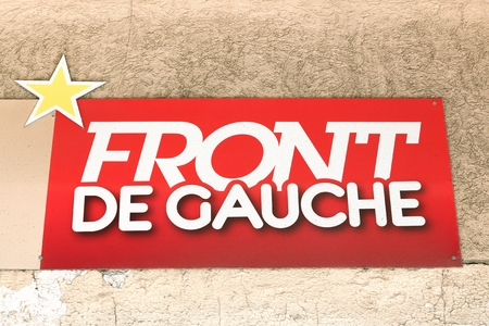 Sete, France - July 3, 2018: Logo of Front de Gauche on a wall. The Left Front called Front de gauche in french is a French electoral alliance and a political movement