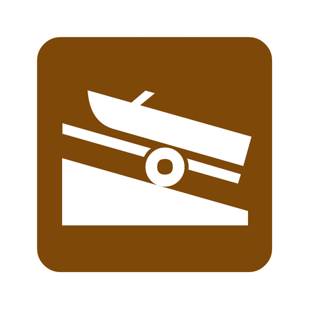 Brown boat launch recreational sign