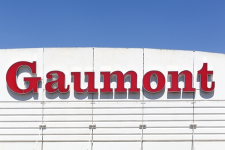 Montpellier, France - July 5, 2018: Gaumont logo on a wall. The Gaumont Film Company is a French major film studio and It is the first and oldest film company in the world