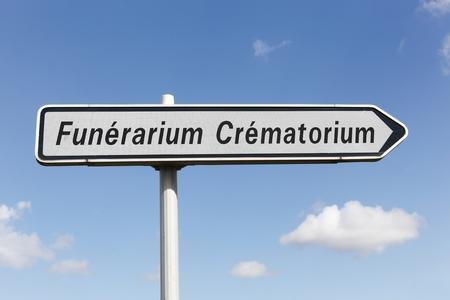 Funerarium crematorium roadsign in France