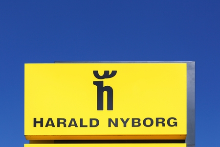Randers, Denmark - May 5, 2018: Harald Nyborg logo on a panel. Harald Nyborg sells DIY products as well as auto accessories, pet articles, clothing and household articles