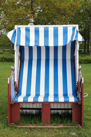 Strandkorb or beach-chair in Denmark Stockfoto