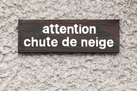 Warning snowfall signboard in French language 스톡 콘텐츠