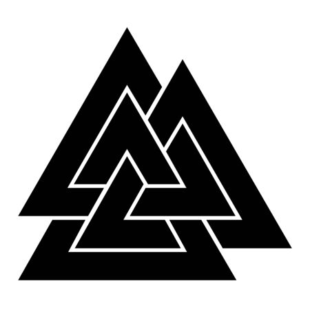 Valknut symbol icon with a white background