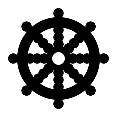 Wheel of Dharma, Dharmachakra symbol Stock Photo