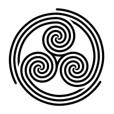Triskelion with three fold spirals symbol