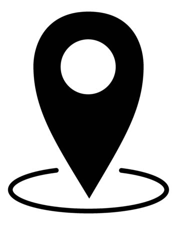 Black map pointer with a white background