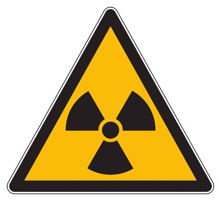 Yellow warning radioactive substances sign 写真素材