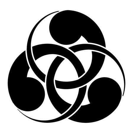 Interlaced tomoe symbol icon