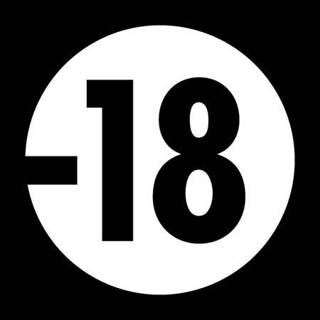 Restriction pictogram for children under 18 in France Banco de Imagens